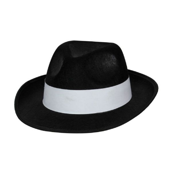 Ganster Hat - Black with White Band